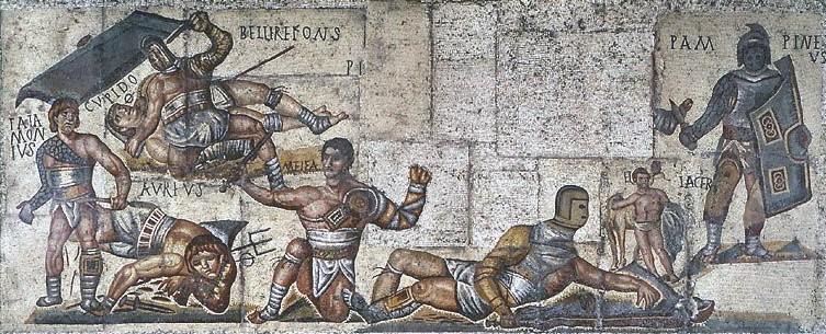 Гладиаторские бои фреска